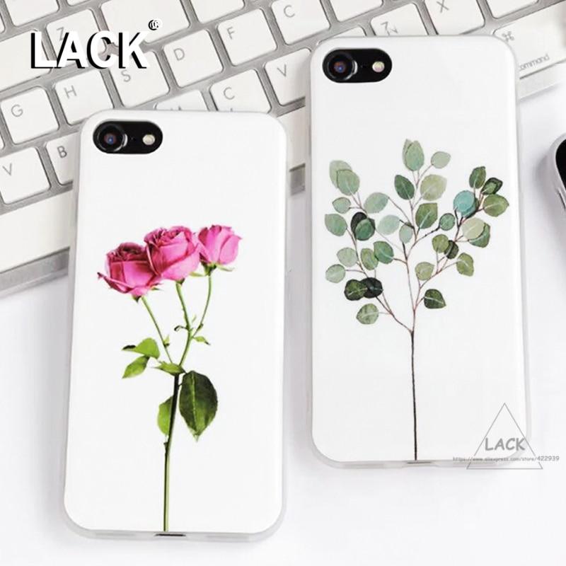 Lack phone case para iphone 7 case lindo de dibujos animados hojas de las planta
