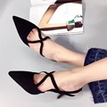 2017 New Arrival Black Pink Women Cross Strap Pumps 8cm Pointed Toe Spring Summer Shoes