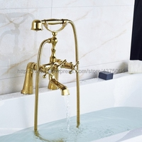 Golden Deck Mounted Two Handle Bathtub Sink Faucet Telephone Deck Standing Dual Hole Bathtub Mixer with Handshower Ntf085