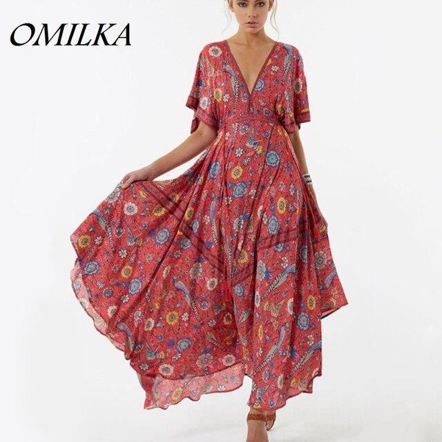 0d5c6963436 OMILKA 2017 Summer Women Floral Printed Chiffon Bohemian Long Maxi Beach  Dress Retro Ethnic Deep V Neck Flower Hippie Boho Dress