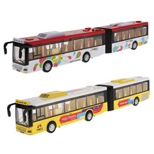 1:50 Scale Alloy Extended Double Bus Car Sightseeing Car Diecast Model Vehicle Kids Toy Gift(China)