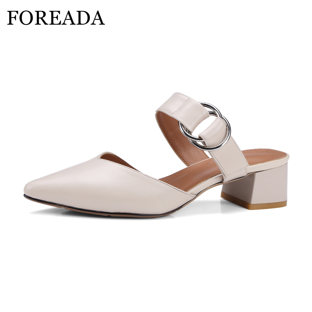 FOREADA Women Genuine Leather Shoes Thick Heels Casual Slingbacks Pumps Med Heels Pointed Toe Slip On Shoes 2018 zapatos mujer банка для хранения сыпучих продуктов коралл элегия