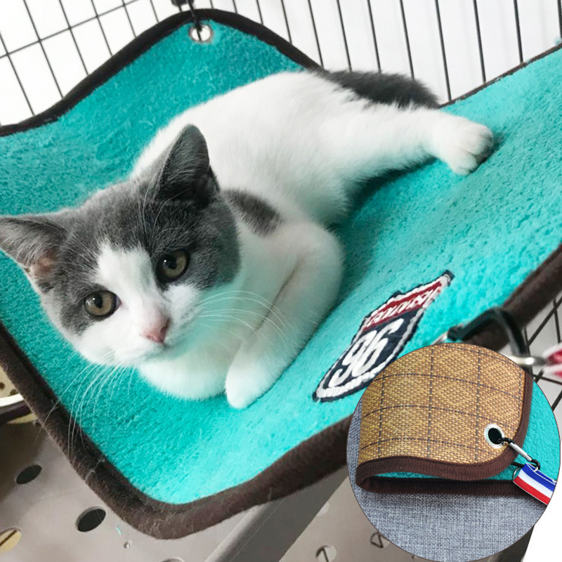 Upgraded Version Pet Double-Sided Hammock Pet Iron Cage Hammock Cat Sleeping Bag Double-Sided Rattan Mat Blanket Cat Hanging Bed все цены