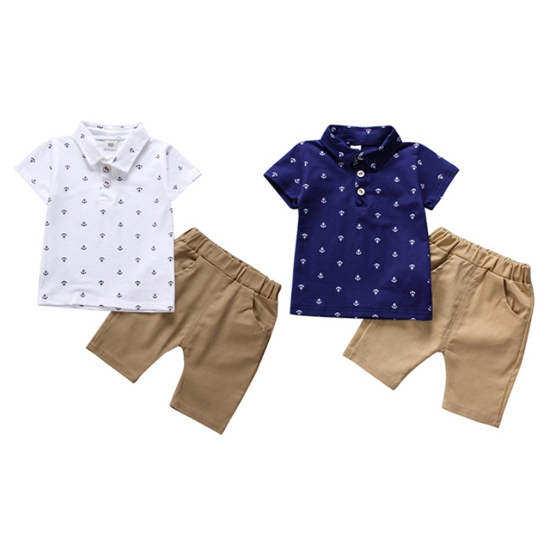 T-Shirt Baby Boy Clothes Summer Baby Clothes Set Shirt Lapel T-Shirt Shorts 2PCS Boy T-Shirt Set Children Clothing t shirt nicolo tonetto t shirt