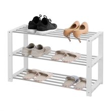 Wooden Stainless Steel Three Tiers Shoe Rack Shoes Home Shelf Storage Organizer Shelves(China)