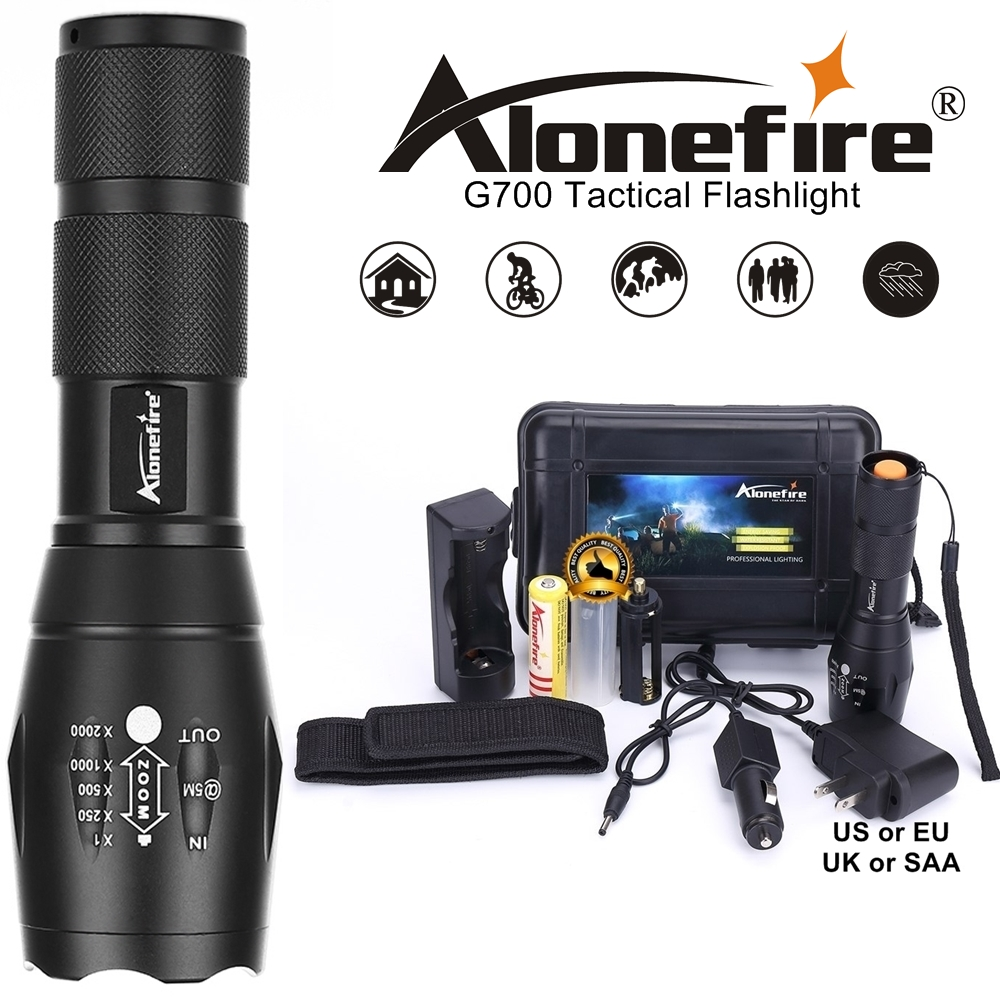 Alonefire Powerful G700 XML T6 L2 Led Waterproof Light AAA 18650 Rechargeable Battery