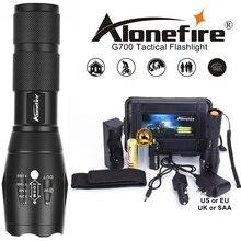 G700 cree xml t6 l2 poderosa lanterna led, de alumínio, com zoom, à prova d água, para acampamento, tática, bateria recarregável aaa 18650