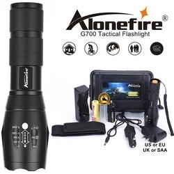 Poderosa g700 lanterna cree xml t6 l2 led de alumínio à prova dl2 água zoom acampamento tocha luz tática aaa 18650 bateria recarregável