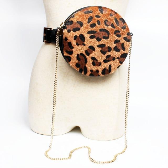 Luxury Brand Chain Leopard Print Waist Bag Women Round Pocket Belt Bag Shoulder Bags Crossbody Ladies Fanny Pack Purse Female