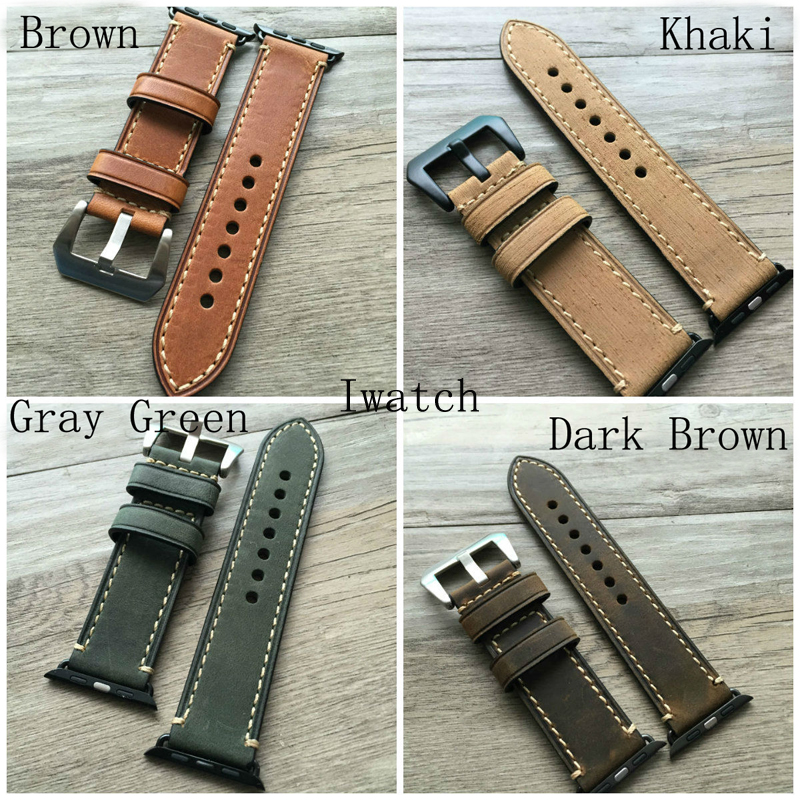38mm 42mm Apple Watch Band Handmade Soft Genuine Leather Watch Strap For Iwatch Apple Watch With