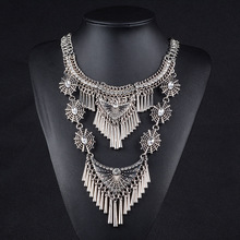 Vintage Collares Necklaces Pendants Tassel Spike Steampunk Maxi Choker Necklace Gold Silver Chain Femme Boho Kolye Jewelry