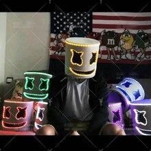 Горячие Marshmello DJ Шлем Хэллоуин Бар Паб реквизит свет маска игрушка белый Забавный шлем 6 цветов DIY Игрушечные лошадки подарки