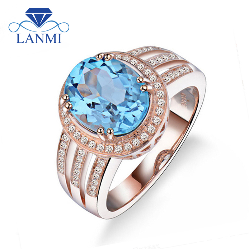 Fantastic Beauty Oval 8x10mm Solid 14Kt Rose Gold Ring For Women Stone Natural Blue Topaz R0315 new arrival fantastic natural tourmaline ring with dia in18kt rose gold engagement ring oval 10x12mm wu249