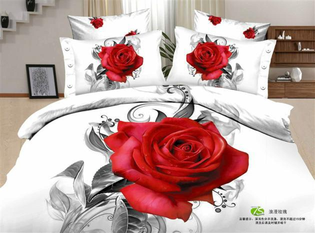 3d White Red Rose Flower Print Floral Romantic Bedding