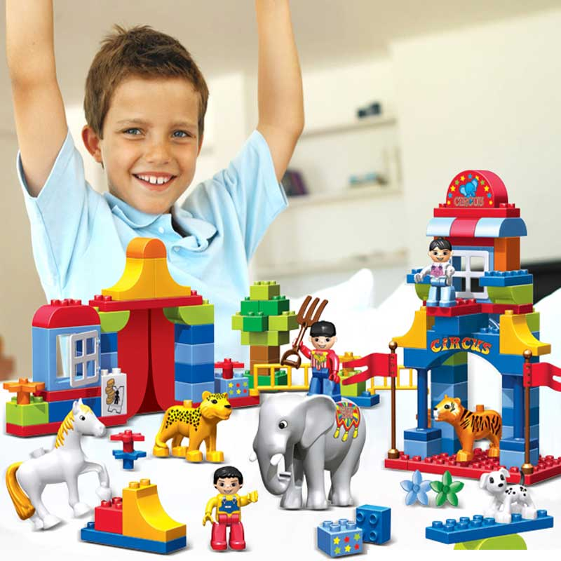 Kid's Home Toys Large Particles Circus Show Animal Paradise Building Blocks Large Size 39PCS DIY Brick Toy Compatible With Duplo the trouble with paradise