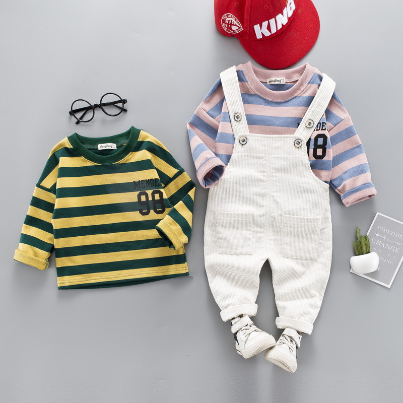 0-4 years High quality boy girl clothing set 2019 new spring active casual kid suit children baby clothing T-shirt+romper 2pcs0-4 years High quality boy girl clothing set 2019 new spring active casual kid suit children baby clothing T-shirt+romper 2pcs