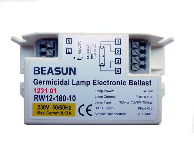 40個RW12 180 10殺菌ランプ電子バラスト230v 120v 4ワット6ワット8ワットランプTUV6W TUV4W TUV8W ce証明書