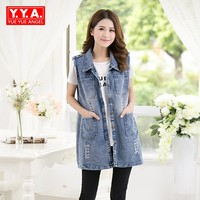 Personality Hole Ripped Jeans Jacket Loose Sleeveless Vest Denim Cowboy Womens Vest Loose Long Style Plus
