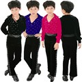 Boys Latin dance clothing new winter long-sleeved clothes and children's dance clothing boys suits clothes black Grading
