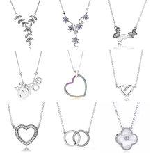 92c97199d527 Arco Iris corazón logotipo firma dos círculos entrelazados Collar para las  mujeres joyería Pandora Collar de plata de ley 925