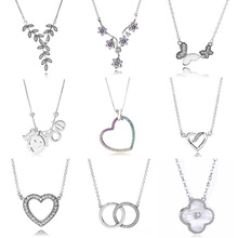 Rainbow Heart I LOVE YOU Logo Signature Two Interlocking Circles Necklace For Women Pandora Jewelry 925 Sterling Silver Necklace