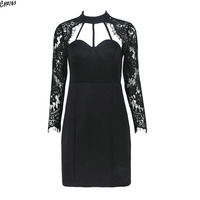 Women Hollow Out Strap High Neck Lace Long Sleeve Bodycon Dress Women 2 Colors Back With