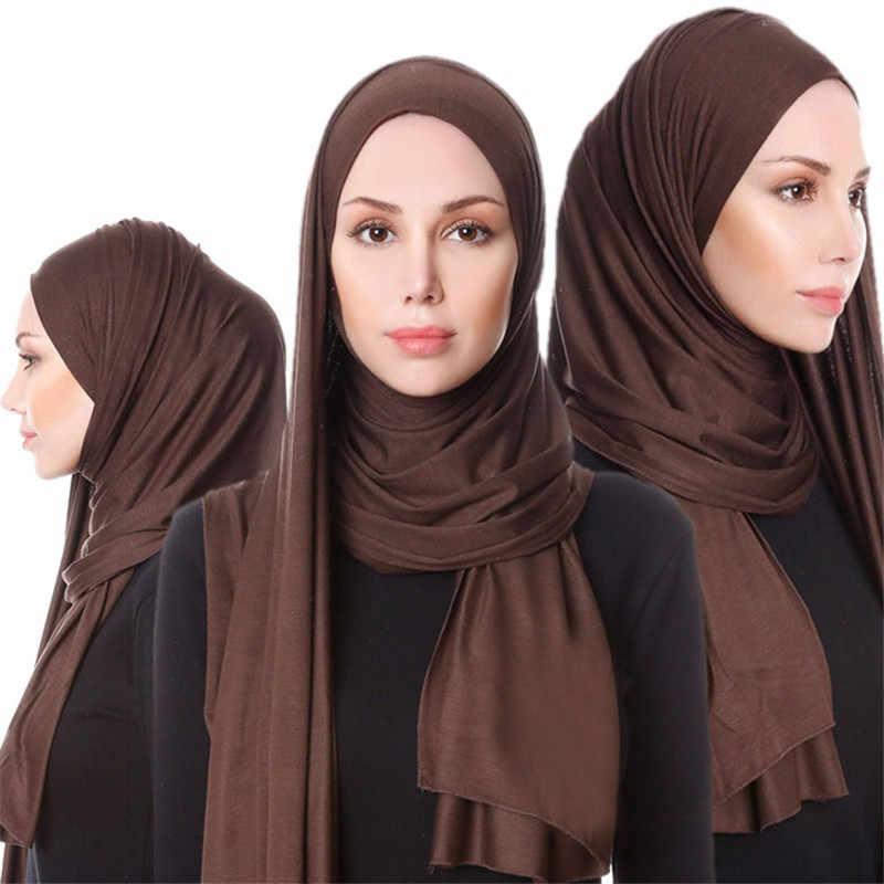 2019 Muslim Jilbab Jersey Syal Lembut Padat Selendang Jilbab Foulard Femme Musulman Islam Pakaian Arab Bungkus Kepala Syal Hoofddoek