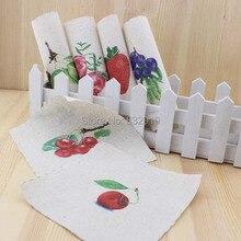 Mão tingido 6 assorted cotton linen impresso quilt tecido para diy costura patchwork home textile decor 15x15cmc frutas coloridas