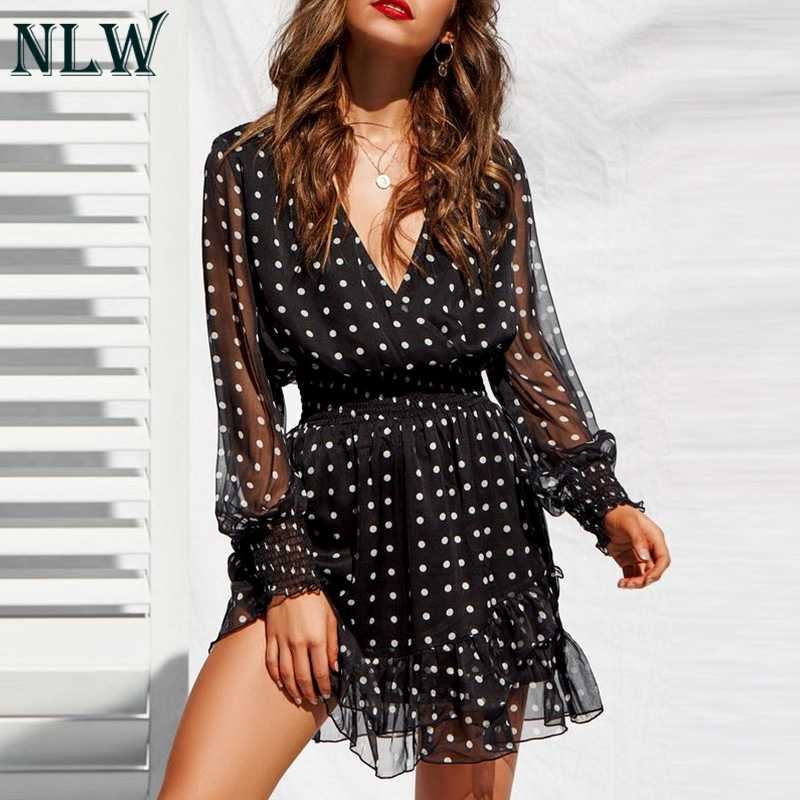 615bb56968be ... NLW Vintage V-Neck Long Sleeves Dress White Polka Dot Black Dress Women  2019 Summer ...