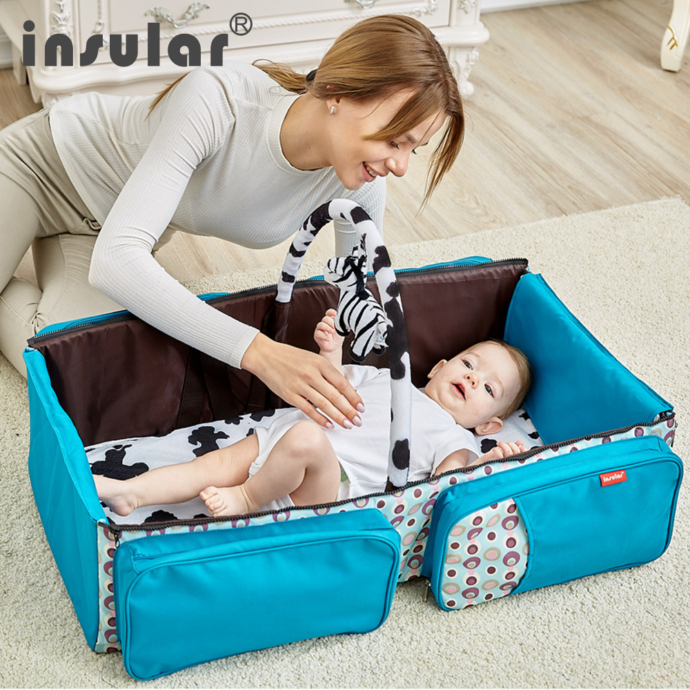 INSULAR 2 IN 1 Baby Travel Beds Diaper bag Messenger Multi function Large Capacity with Mosquito