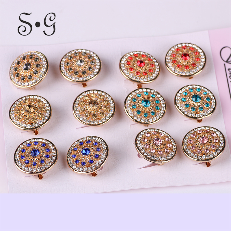 12pcs/dozen Corsage Brooches Rhinestones Elegant Scarf Jewelry Round Wedding Hollow Brooch pins Ethnic Style Jewelry for Women