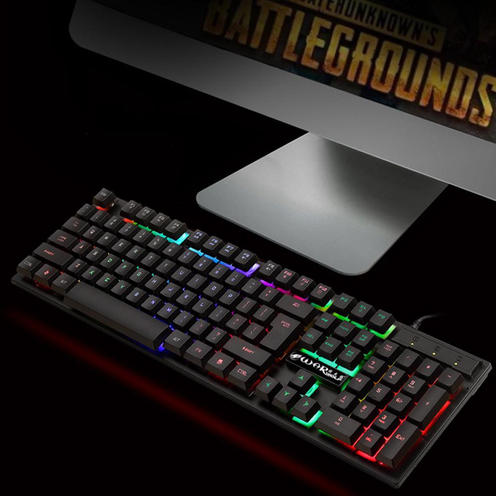 תאורה אחורית DSstyles 104 מפתחות USB עם חיבור לחשמל מקלדת גיימינג Pro עם 7 צבעים LED עם תאורה אחורית Gaming Keyboard עבור מחשב שולחני (3)