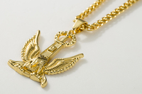 29 5 Hip Hop Iced Out Gold Tone Eagle Piece Pendant 18k Gold PlatedLink Chain Necklace