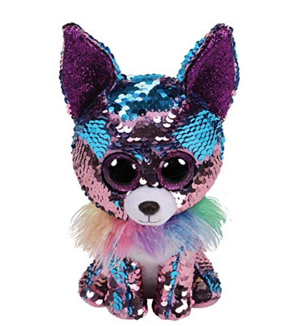 "Ty Beanie Boos 9"" 25cm YAPPY - blue/purple sequin chihuahua med Stuffed Animal Collection Doll Toy"