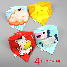 4 pieces/bag Baby bibs High quality triangle double layers cotton baberos Cartoon Character Animal Print baby bandana