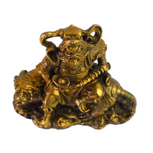 Feng Shui Brass God of Wealth Tsai Shen Yeh Sitting on Tiger Statue Figurine+ Free Mxsabrina Red String Bracelet M5021