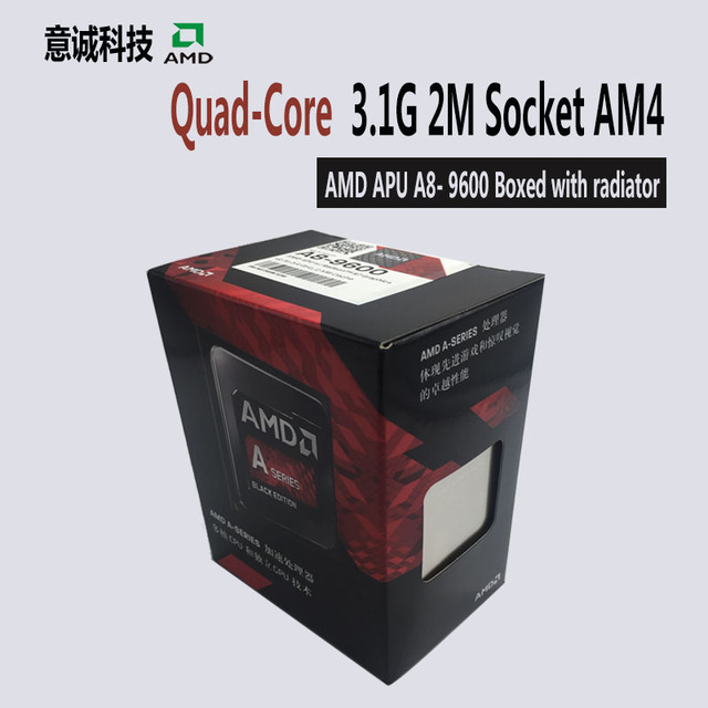 US $84 68 |AMD APU A8 9600 CPU Processor Boxed with radiator Quad Core  3 1GHz 2MB Socket AM4 Cache With Radeon R7 Desktop NEW-in CPUs from  Computer &