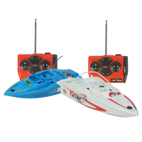 2Pcs/Set High Speed RC Boat 4CH 2.4V 27MHZ/40MHZ Radio Remote Control Fishing Boat Plastic Mini RC Ship With Inflatable Pool