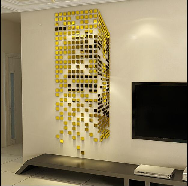 Mosaic acrylic 3 d wall stickers mirror porch sitting room TV setting wall stickers on the wall decoration