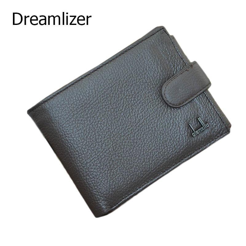 3 Fold Short Genuine Leather Men Wallet Hasp Brand Designer Purse with Coin Bag