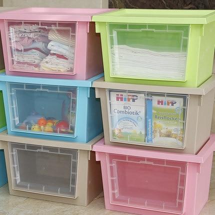 Honey Flower Honey Baby Clothes Storage Box Can Double Open Windows  Transparent Plastic Storage Box Finishing