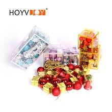 HOYVJOY Christmas Decoration Set 32PCS Per Bag Boll Box Drum Bell Word Brand Holiday Decor
