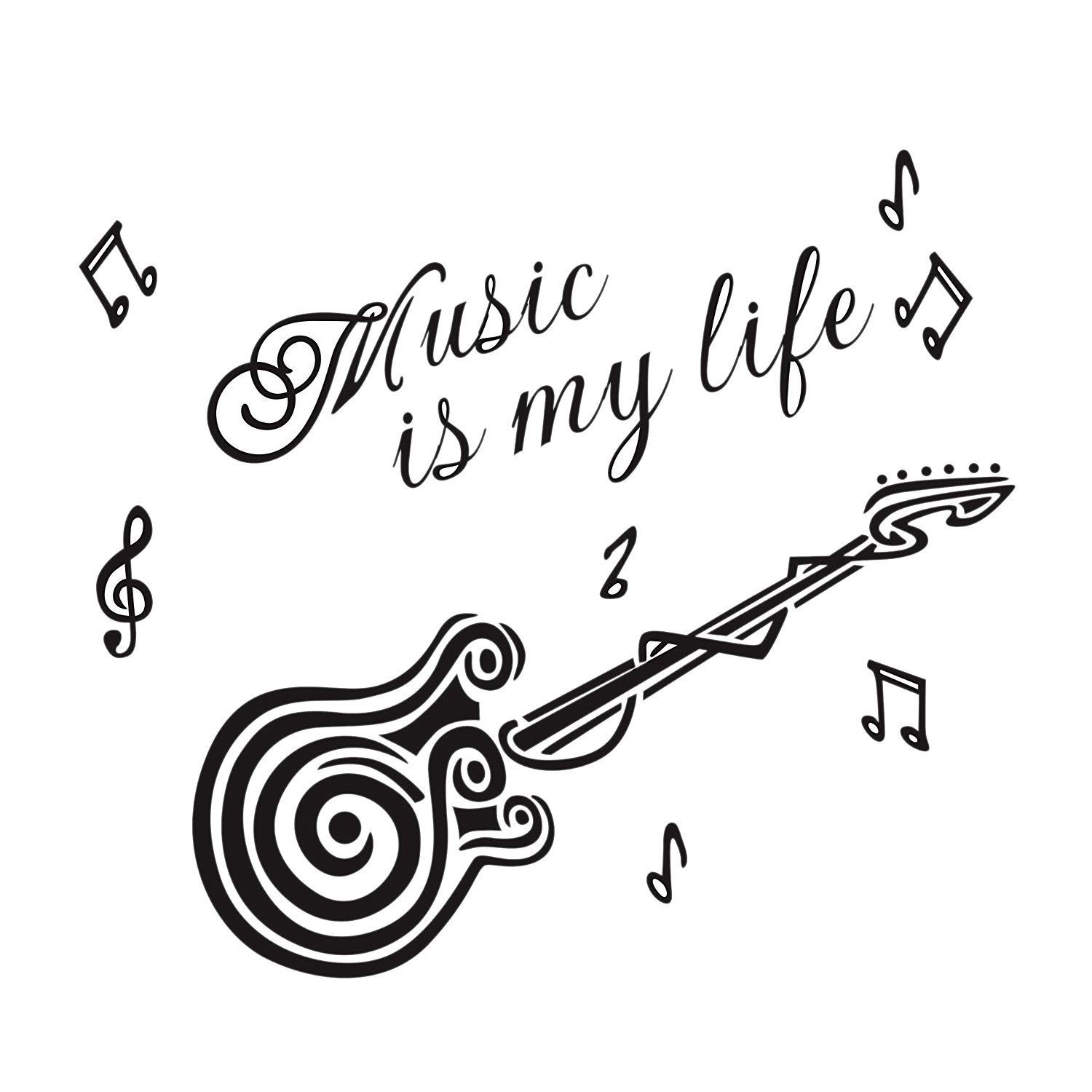 Hot Guitar Inspiring Quote Music Is My Life Wall Sticker For Room Decal ...