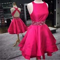 Stunning 2016 New Summer Sexy Mini Short Hot Pink Beaded Satin Women Special occasion Cocktail Party Dress robe de cocktail