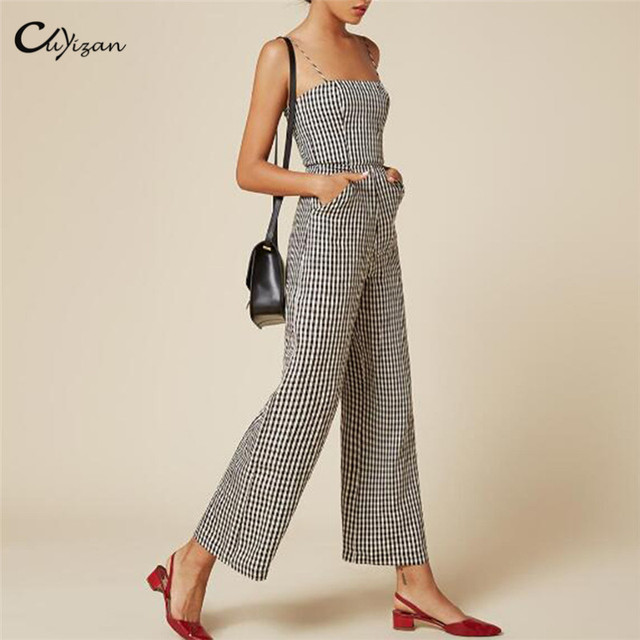 ad1a92658fc6 Cuyizan Elegant Wide Leg Women Jumpsuits Sexy Backless Black Plaid New Party  Playsuit Rompers Vintage Female Work Wear