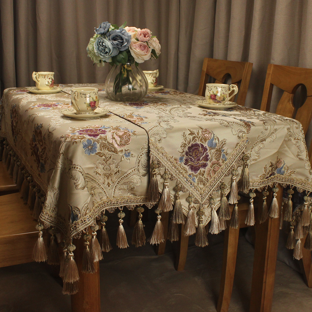 CURCYA Luxury Vintage Tablecloth Jacquard Floral Royal Style Classic Table Cloth Covers for Dining Tables Elegant Decor