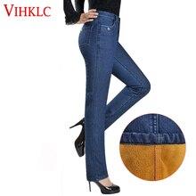 Бархатные тянущиеся толстые теплые джинсы женские джинсы с высокой талией Зимние женские джинсы большого размера плюс кашемировые обтягивающие Стрейчевые брюки H544