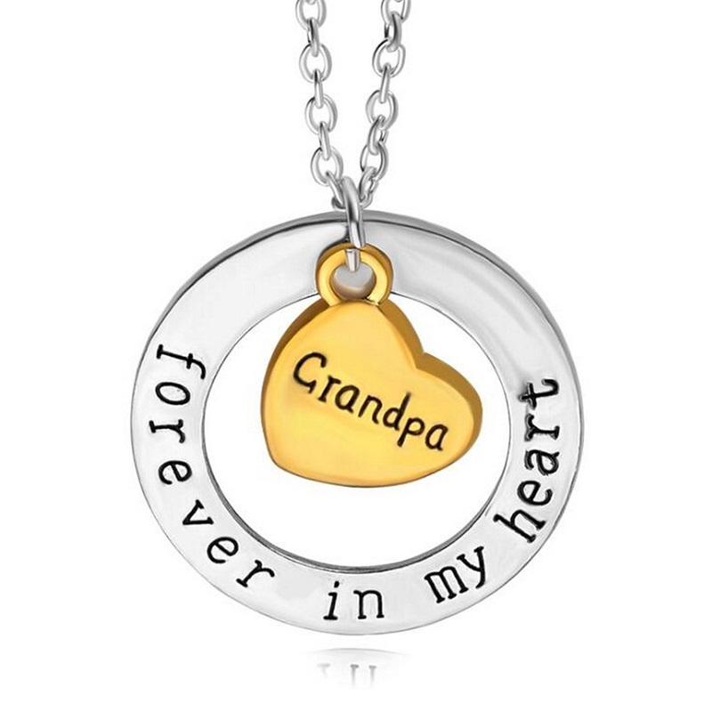 Grandpa forever in my heart gold heart pendant necklace family grandpa forever in my heart gold heart pendant necklace family grandfather for men jewelry collier gifts party free shipping in pendant necklaces from aloadofball Gallery