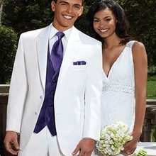 Two Buttons Groom Tuxedos Notch Lapel Best Man Suit White Groomsman Bride Wedding Prom Suits