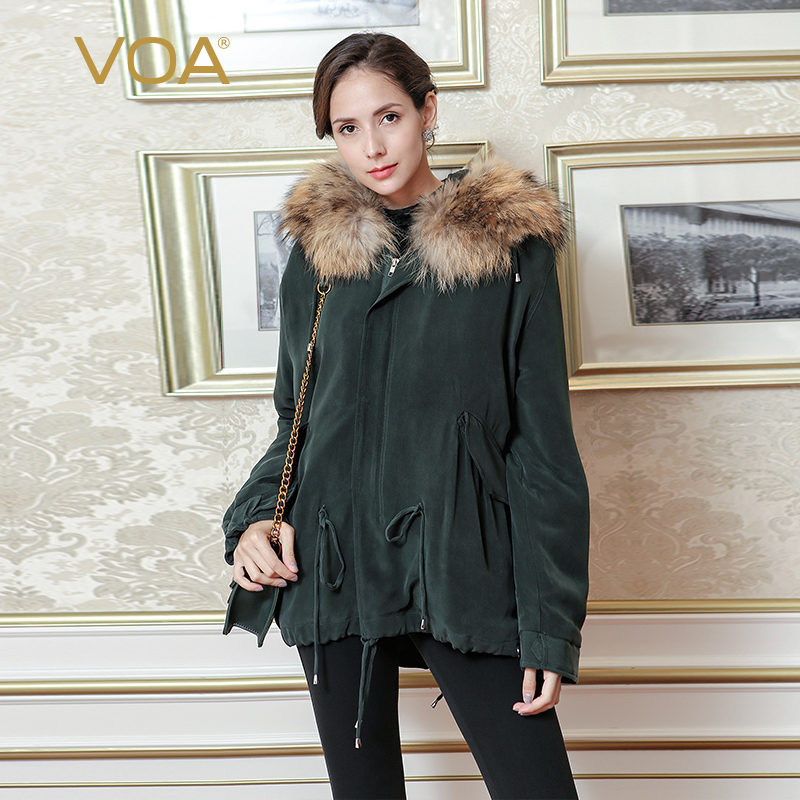 VOA 2017 Fall Winter Dark Green Silk Hooded Jacket Brief Solid Casual Fur Heavy Coat Plus Size Long Sleeve Women Parka M3262 куртка turbokolor ewald plus jacket fw13 dark green l